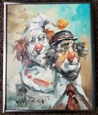 Vintage William Moninet Clowns Balloons Oil Painting on Canvas Framed 8 X 10