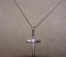 SHINE bright like a diamond! 14k White gold Cross with Solitaire Diamond