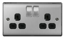 BG Nexus NBS22B Brushed Steel Satin Chrome Double Socket 2 Gang Twin 13a Black