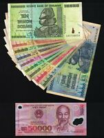 1 Million to 10 Trillion Zimbabwe Dollars 2008 Set + 50000 Vietnam Dong Banknote