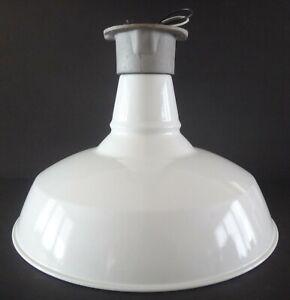 VINTAGE Benjamin White Porcelain Barn Gas Station Ceiling Light Fixture PERFECT