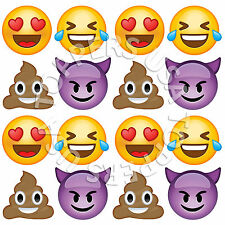 16x EDIBLE Emoji Smiley Faces #2 Cupcake Toppers Wafer Paper 4cm (uncut)