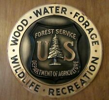 """15"""" Rare Antique Vintage 1960s US Forest Service Wall Hanging Plaque Sign Shield"""