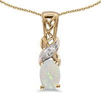 14k Yellow Gold Oval Opal and Diamond Pendant (no chain) (CM-P2584X-10)