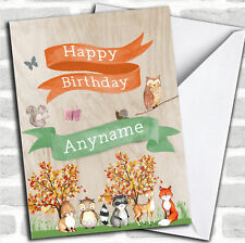 Cute Woodland Animals Children's Birthday Personalized Greetings Card
