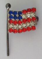 American Flag On Pole Gems USA United States Badge Pin Rare Vintage (N16)