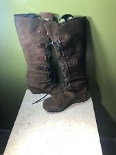 SOREL Joan of Arctic Cate The Great Wedge Tall Brown Leather Lace Up Boots 9