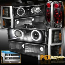 94-98 GMC Sierra Suburban 10PC Projector LED Black Headlights+Tail Light+Signals