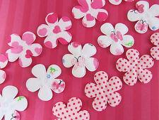 "60 Padded Sweet Pink/Red Valentine Fabric 1.5"" Cotton Flower Applique/Trim H224"