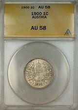 1900 Austria Silver 1C Corona Coin ANACS AU-58