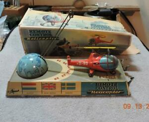 Vintage 1950's Tin Toy German Wind up Helicopter Military Landing Pad W/Box