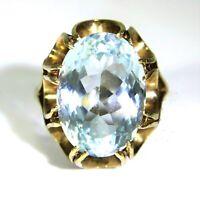 Huge Vintage Swiss Blue Topaz 9ct Rose Gold Statement ring size P ~ 7 3/4