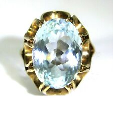 Huge Vintage Swiss Blue Topaz 9ct Rose Gold Statement ring size P ~ 7 3/4