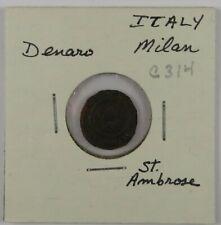 C314 Italy, Milan, AE Denaro, Second Republic, Saint Ambrose, 1447-1450 D