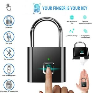 Intelligent Keyless Fingerprint Padlock USB Chargeable Lock Silver/Black Lock