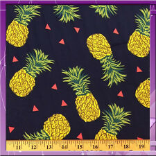 """100% DOUBLE WEIGHT RAYON PINEAPPLE NAVY BLUE BACKGROUND FABRIC 58"""" WIDE SOLD BTY"""
