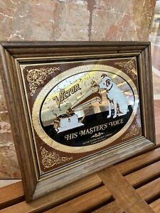 Vintage RCA Victor His Master's Voice Advertising Mirror Sign Nipper Dog Framed