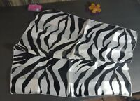 Womens Black & White Scarf Zebra Print Silky Satin  20 X 20