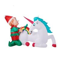 7FT ELF WITH UNICORN & RAINBOW CHRISTMAS INFLATABLE LIGHT UP AIRBLOWN NEW!