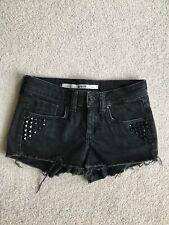 Topshop Moto Black Denim Shorts with Studs Detail UK6