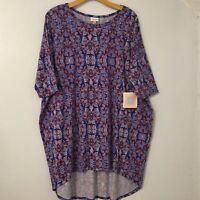 New Lularoe Size XL Irma Blouse Top Blue Geometric Short Sleeve Shirt Comfort