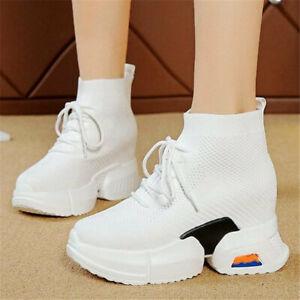 Fashion Sneaker Women Cotton Blend Platform Wedge Ankle Boots Comfort High Heels