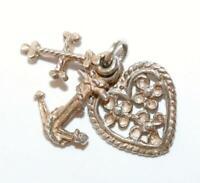 Faith Hope Charity Sterling Silver Vintage Bracelet Charm Pendant 1.7g