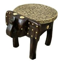 Wood Stool Elephant Shape Handcrafted Small Stool Brass Home Decor Indian Art