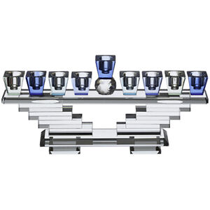 Crystal Menorah Blue Gift Accent Home Decor Traditional Style Judaica  28x13cm