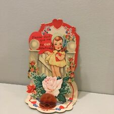 Vintage Valentine Card Pretty Little Girl Flower Garden Gate Pink Roses Foldout