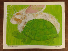 """""""The Hare and The Tortoise"""" Fairy Tale Print Rabbit Turtle Linda Powell Green"""