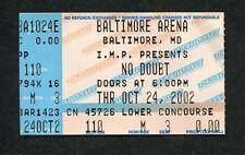 2002 No Doubt Concert Ticket Stub Baltimore Gwen Sefani Rock Steady
