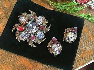 Stunning DRAGONS BREATH Stone BROOCH Pin & CLIP EARRINGS Set - Art Deco Design