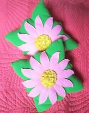 two (2) Cute Little Decorative Baby Crib Pillow Green Pink Daisy 10x9 Fleece