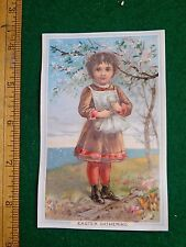 1870s-80s Easter Gathering Girl in Dress Holding Eggs Victorian Trade Card F37