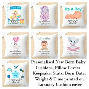 Personalised It's A Boy/Girl Cushion, Pillow Covers. Keepsake Present. Nursery