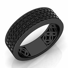 2.1/2 Ct Sterling Silver Over Black Rhodium Plated Diamond Mens Wedding Ring