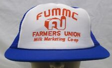 Vintage FUMMC Farmers Union Milk Marketing Coop Mesh Snapback Hat Blue NOS Farm