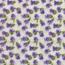 Debbie Beaves Lovely Purple Cream Calico Pansy  Floral Quilt Fabric 1447--002 3C