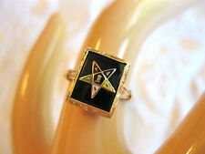 14k YELLOW GOLD ORDER OF THE EASTERN STAR ENAMEL BLACK ONYX JET GLASS DECO RING