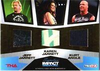 TNA Jeff Karen Jarrett Kurt Angle GOLD 2011 Signature Impact Relic Card SN 4 /50