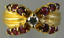 Genuine, Brilliant Cut DIAMOND with X KISS! of Genuine RUBIES  in 14k Gold Ring