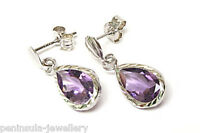 9ct White Gold Amethyst Teardrop earrings Gift Boxed Made in UK Christmas Gift