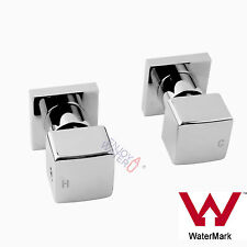 Wall Shower 1/4 Turn Twin Mixer Taps Spa Basin Bath Spout Brass Cubic Chrome