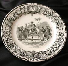 SARREGUEMINES 19c Pottery Transferware Napoleon Syria Plate