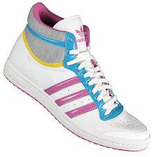 adidas Top Ten Hi Sneaker Damen Echtleder Textil Gummi Schnürsenkel weiß
