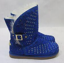 Urban Glitter Blue Rhinestones Winter Ankle Cute Boots Kid Size 4