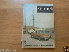 SIMCA 1000  INSTRUCTION BOOK,MANUAL,INFO, HANDBUCH
