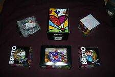 6pc Romero Britto Collectibles Lot MIP Figurines Cat Angel Teapot S&P Shakers+
