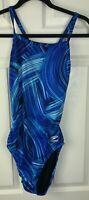 Speedo Endurance+ Size 30/10 Blue Swirl Print One Piece Athletic Swimsuit